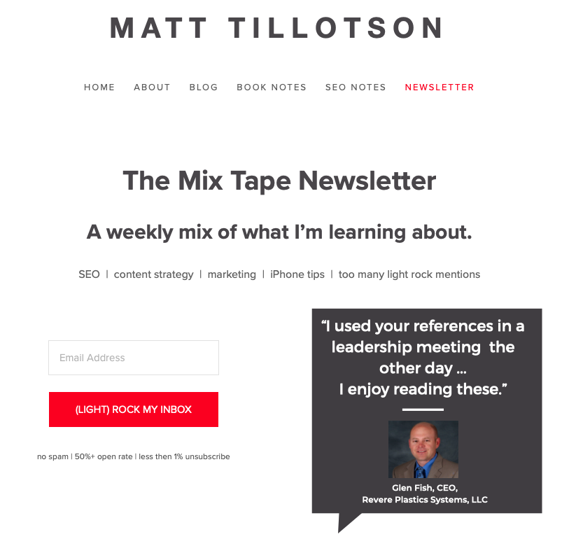 The Mix Tape Newsletter signup page