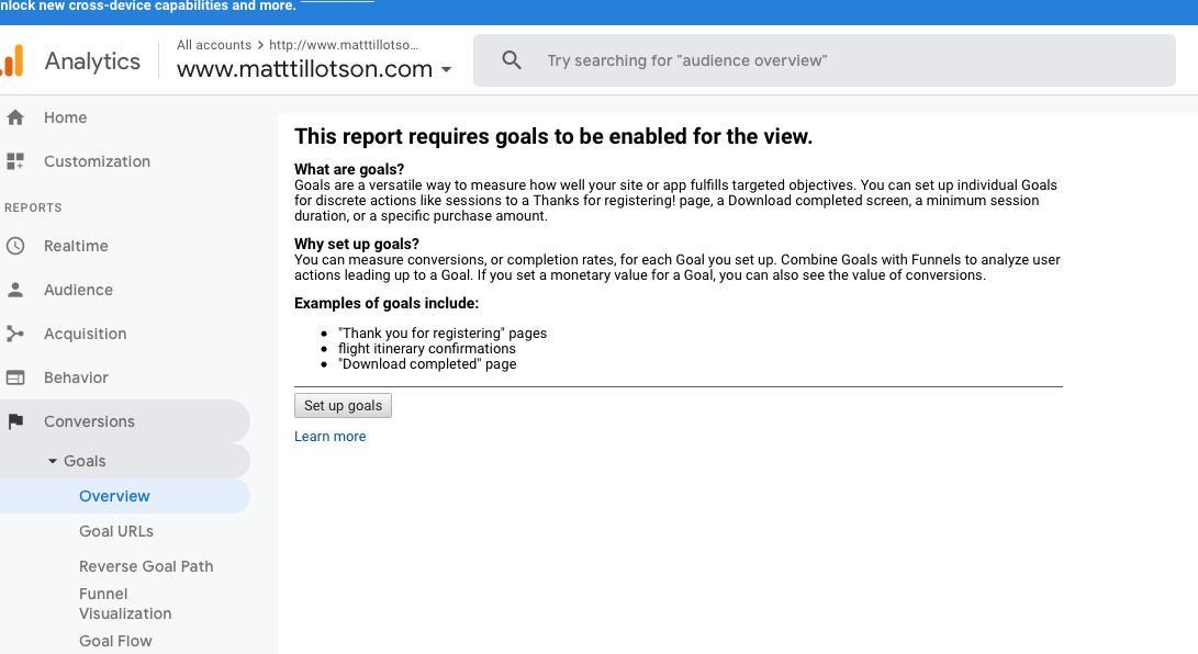 Google Analytics Goals Screenshot