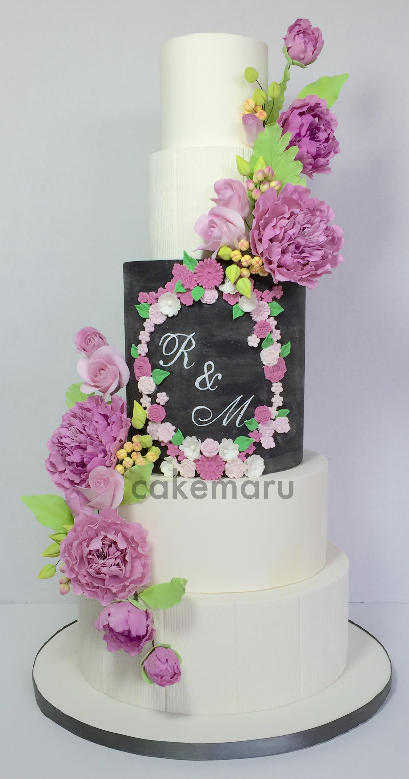 Chalkboard Peony Wedding Cake.jpg