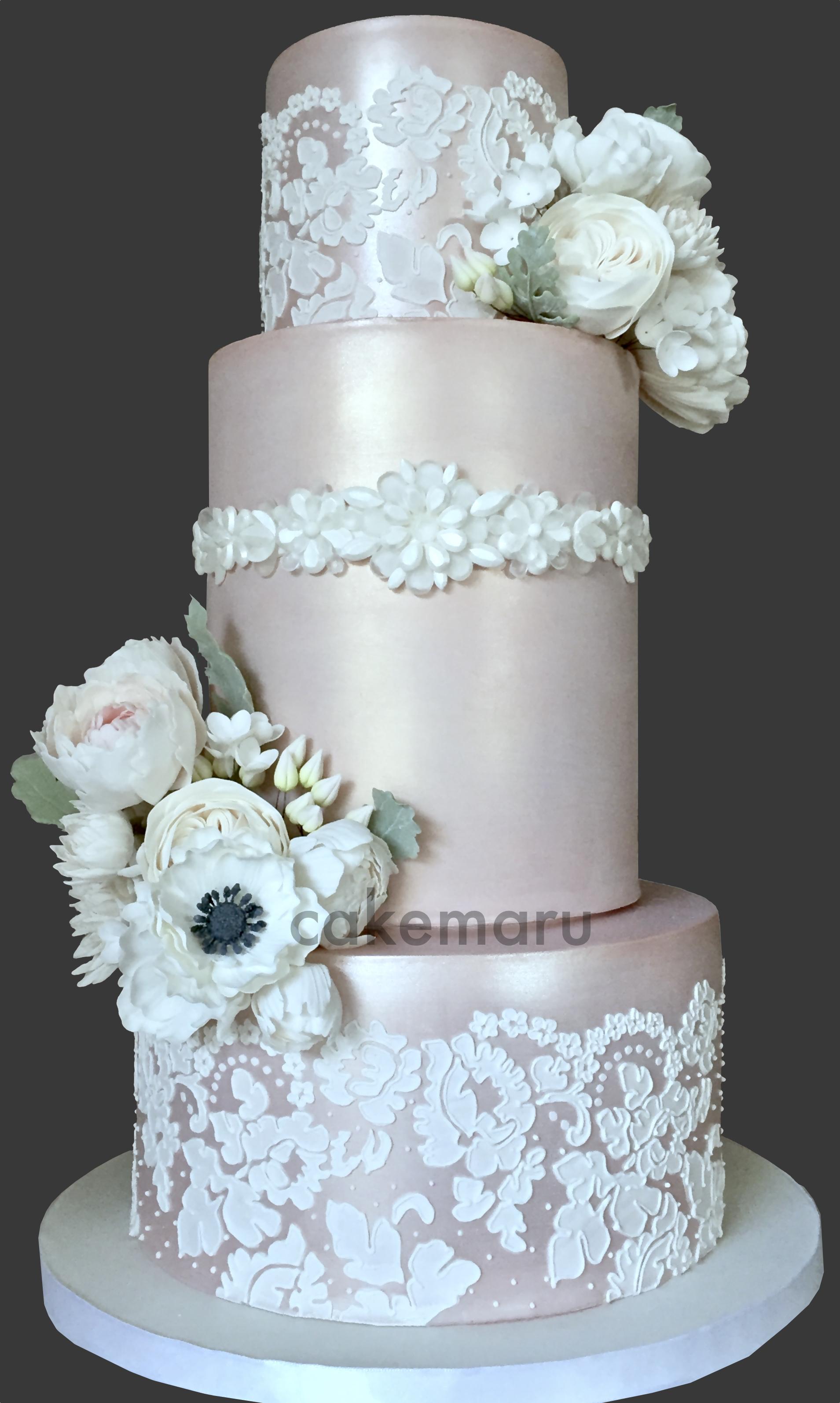 Champagne Lace Wedding Cake.jpg