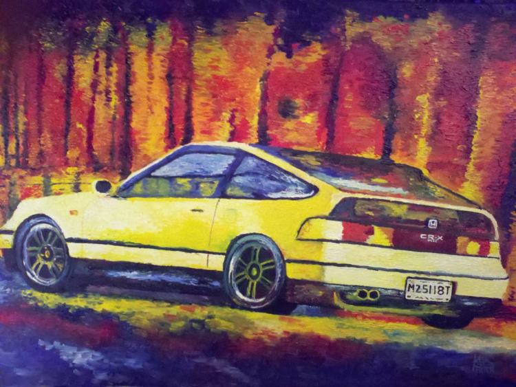 """Honda Commission (in Yellow)"" 30 x 24 inches, Oil on Canvas (2013)"