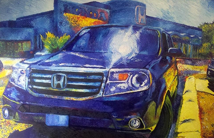 """Honda Commission (in Blue)"" 30 x 24 inches, Oil on Canvas (2013)"