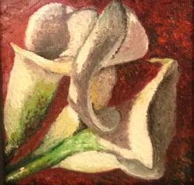 """""""Calla Lillies #2"""" 4 x 4 inches, Oil on Canvas"""