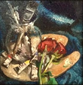 """""""Painter's Palette"""" 4 x 4 inches, Oil on Canvas"""