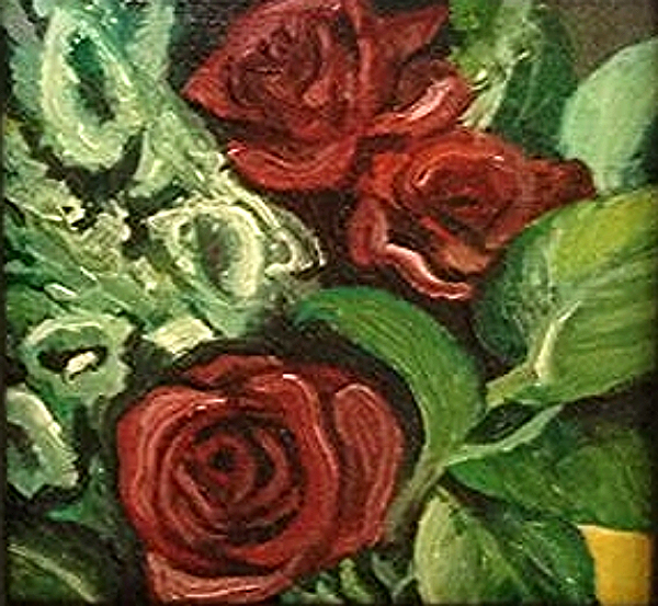 """Roses"" 4 x 4 inches, Oil on Canvas"