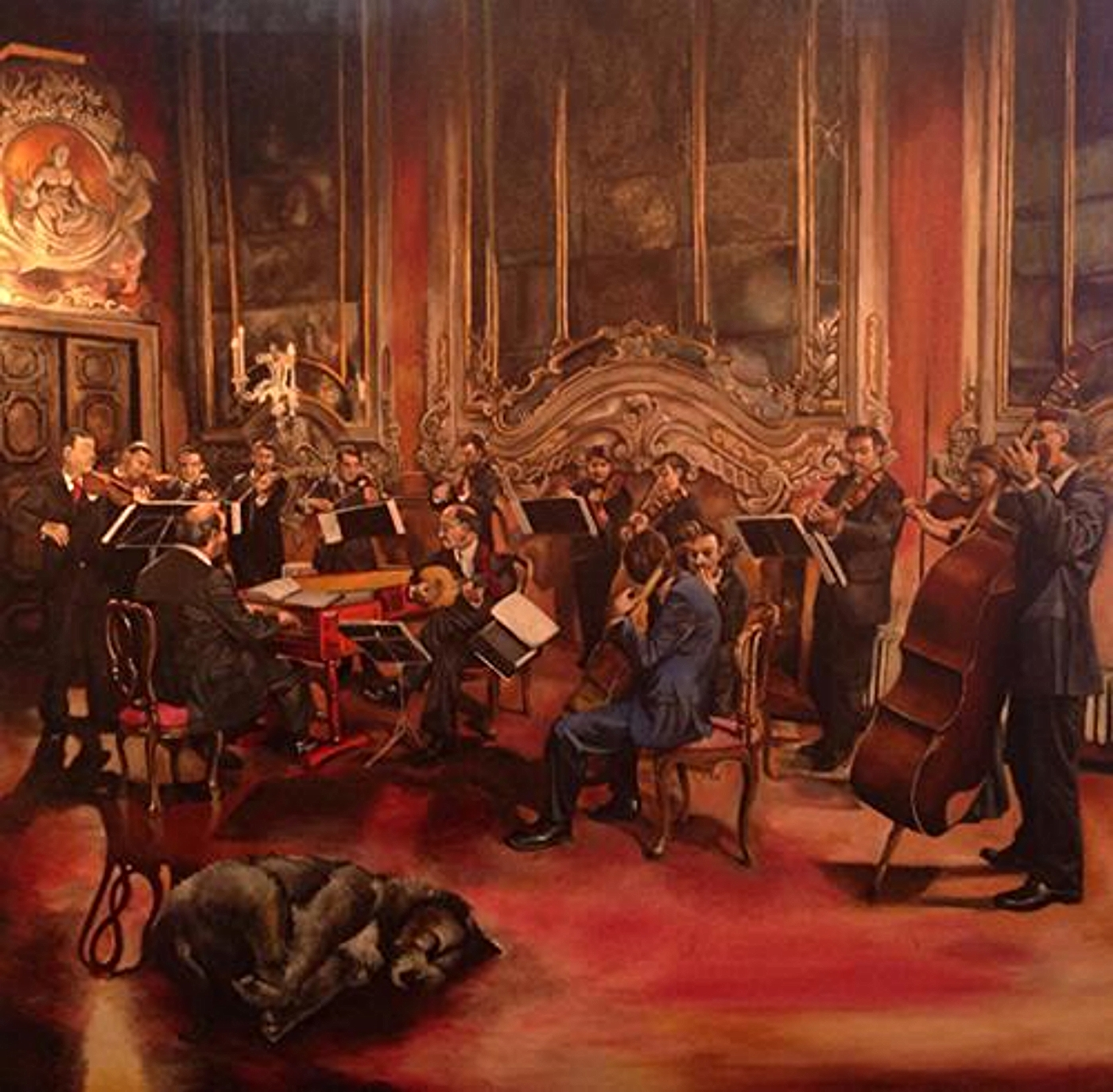 """""""Orchestra"""" 48 x 48 inches, Oil on Canvas (in process)"""