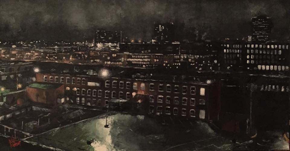 Manchester Night, 36 x 19 inches, oil on panel