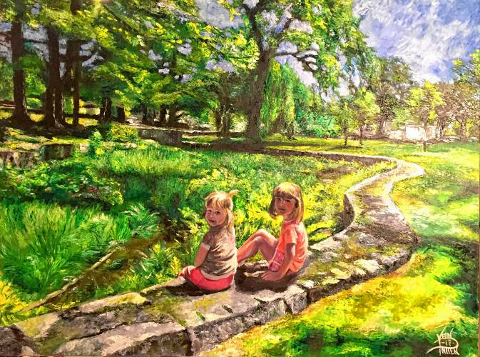 """Sisters in the Park"", Oil on canvas, by Joel VanPatten"