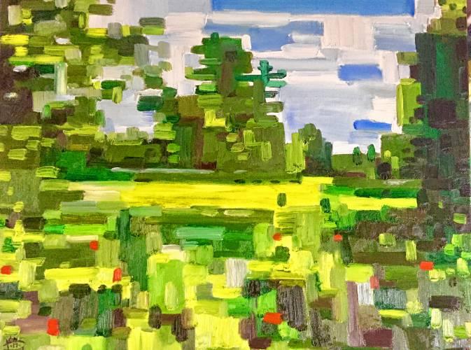 Abstract Park, oil on canvas, by Joel VanPatten