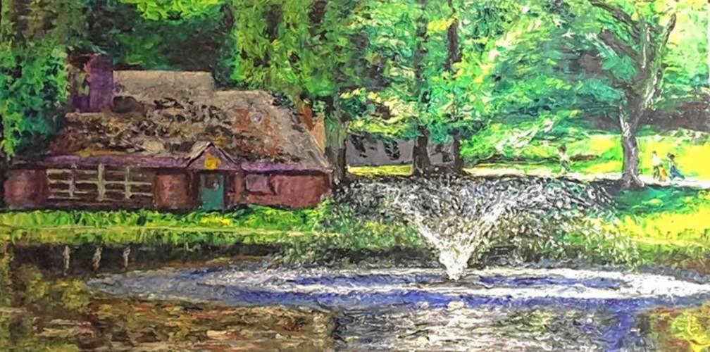 White Park, oil on canvas, by Joel VanPatten
