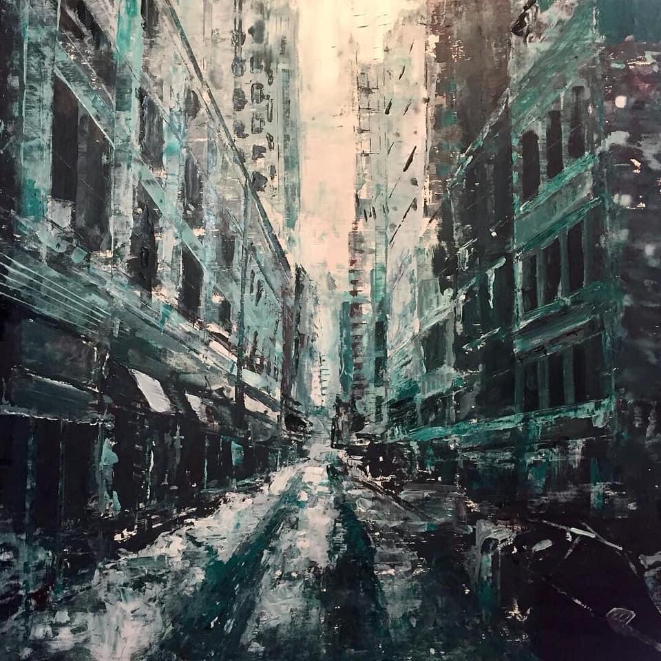 "Blue City, 24"" x 24"" oil on panel"
