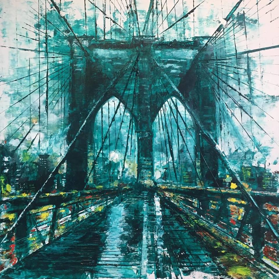 "Brooklyn Bridge, 24"" x 24"" oil on panel (2018)"