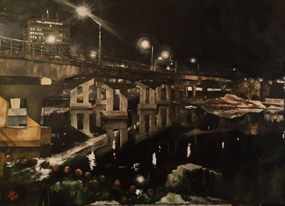 "Amoskeag Bridge, 36"" x 48"" oil on canvas (2017)"