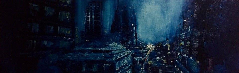 "Dark City, 12"" x 24"" oil on canvas (2018)"