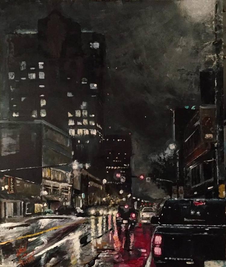"Manchester Rain, 24"" x 36"" oil on panel (2017)"