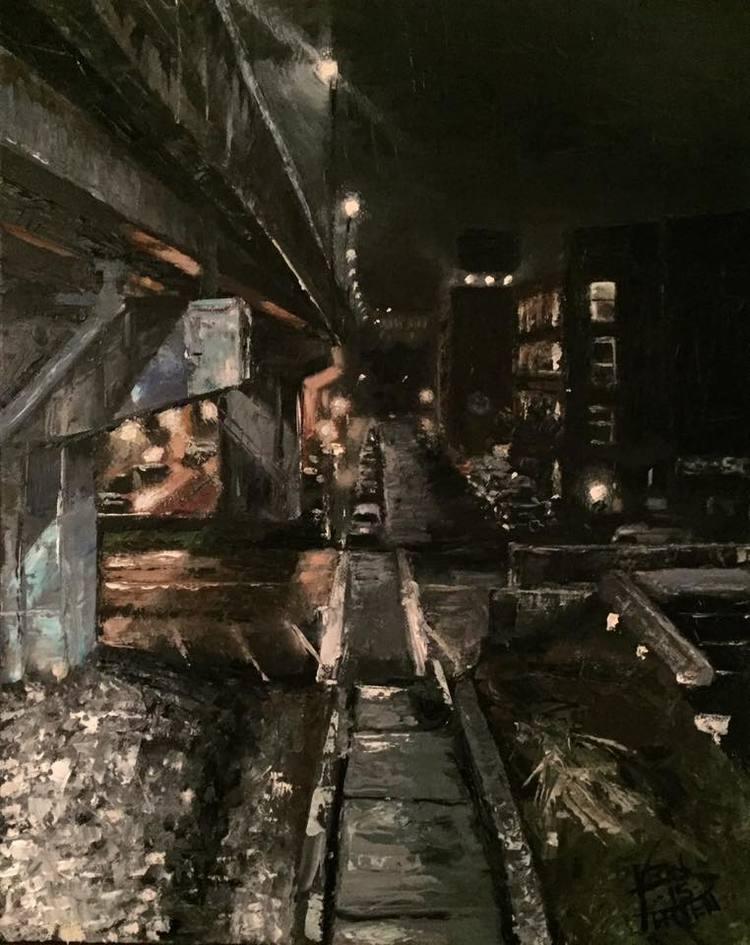 "Queen City Bridge, 16"" x 20"" oil on panel (2017)"