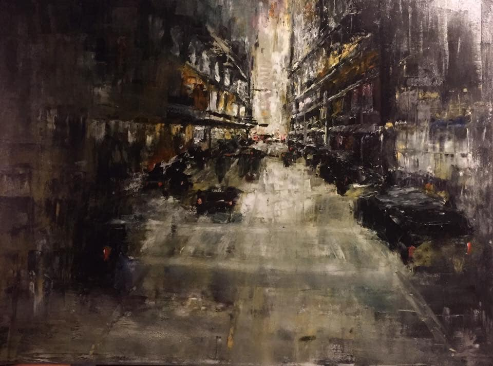 "Dark City v2.0, 24"" x 36"" oil on canvas (2018)"