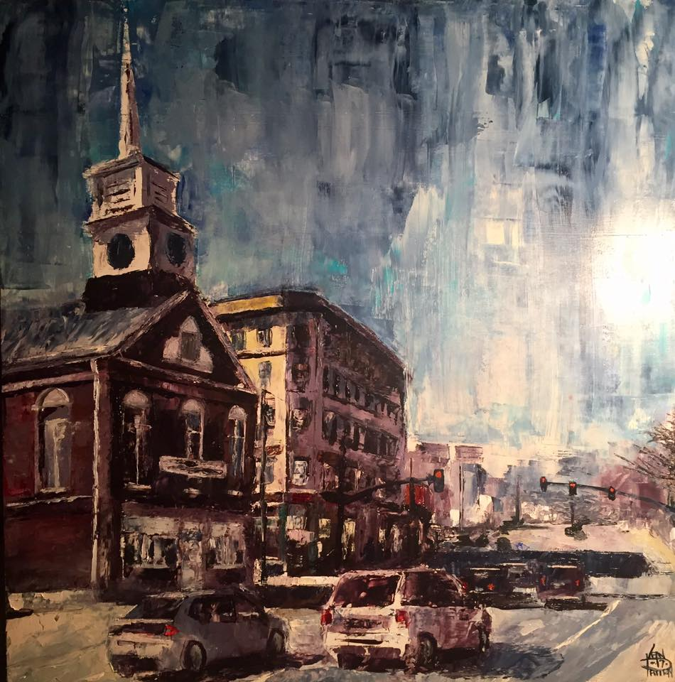 "Gate City Church, 24"" x 24"" oil on panel (2018)"