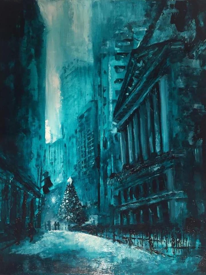 "Santa Claus Rally, 16"" x 20"" oil on panel (2018)"