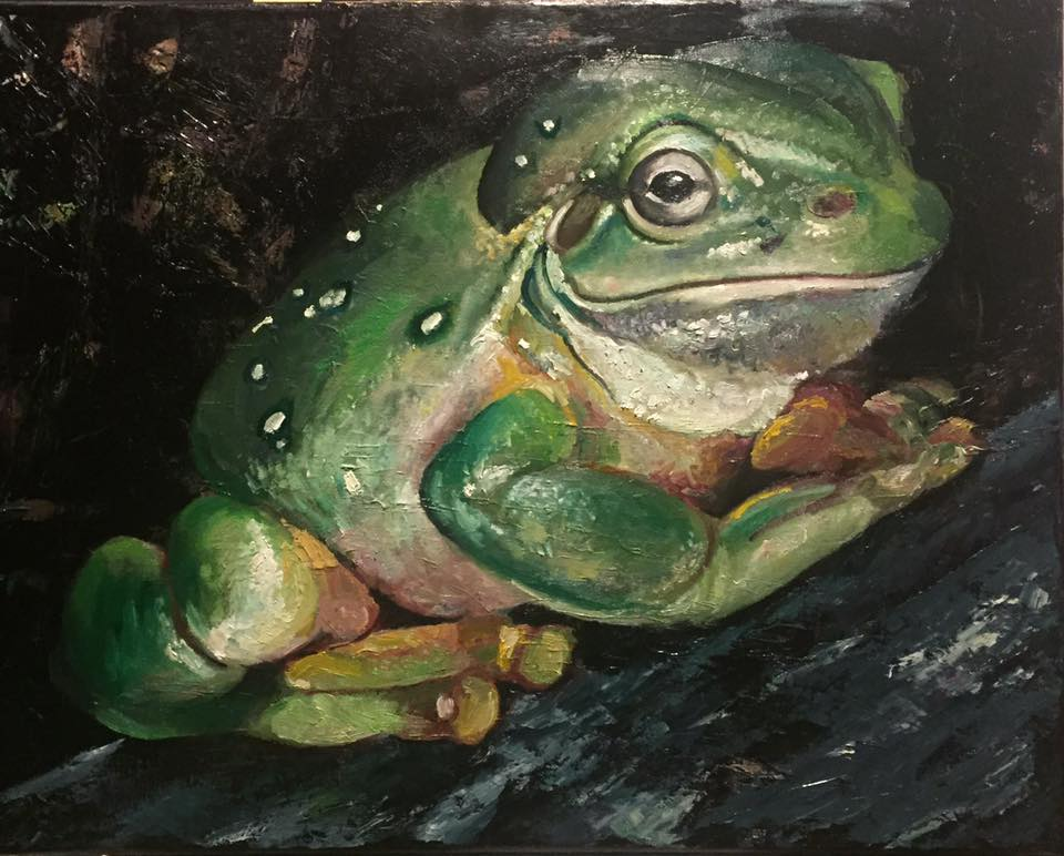 "Big Green Front, 16"" x 20"" oil on canvas"