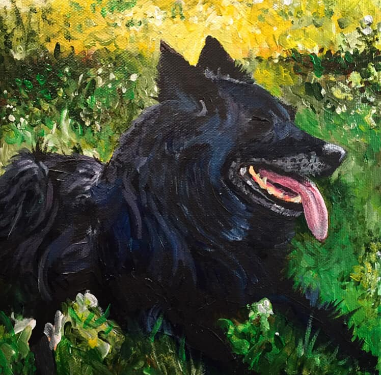 "Black Dog, 8"" x 8"" oil on canvas"