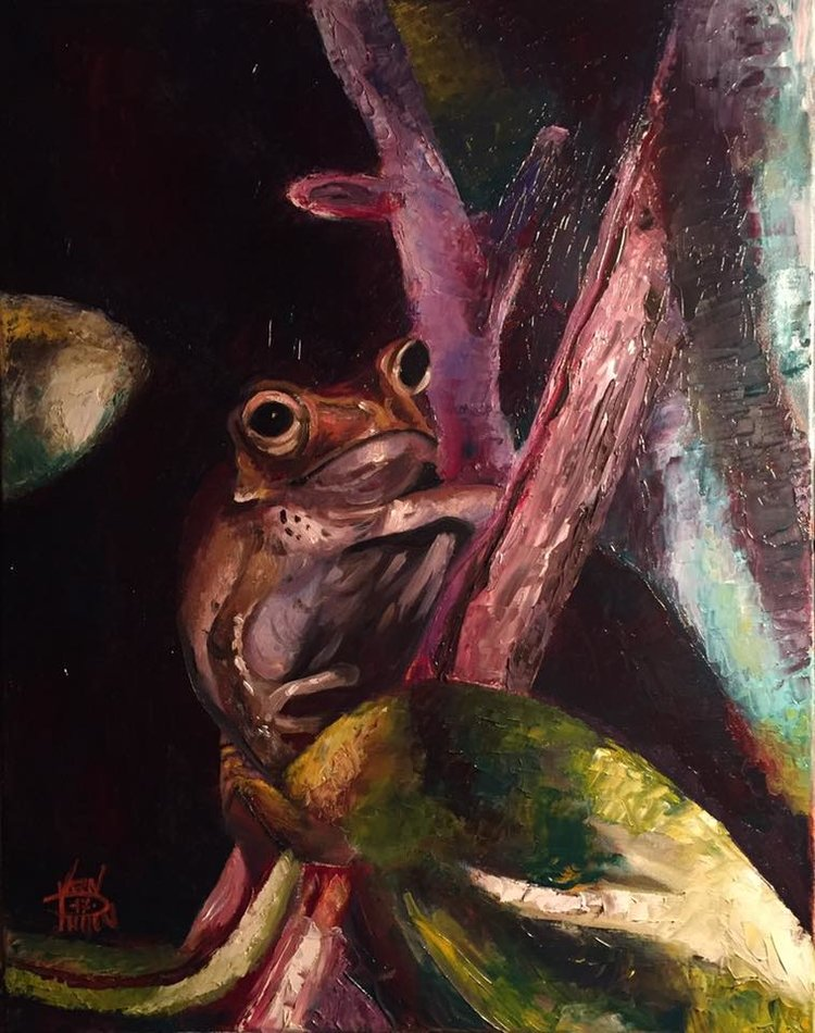 "Tiny Frog, 16"" x 20"" oil on canvas (2017)"