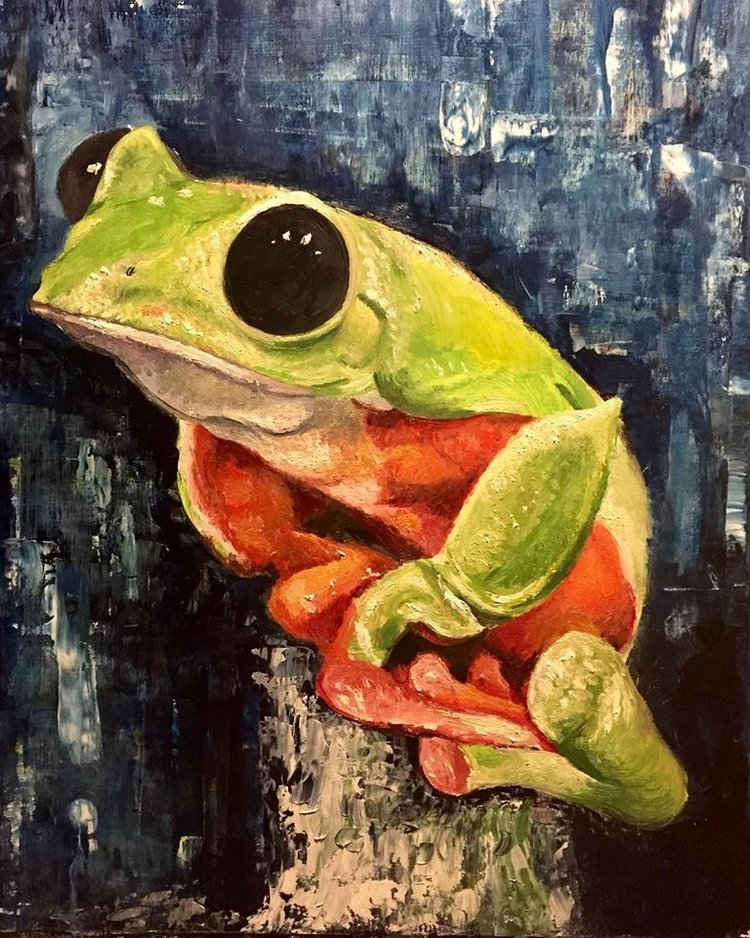 "Green Frog, 16"" x 20"" oil on canvas (2017)"