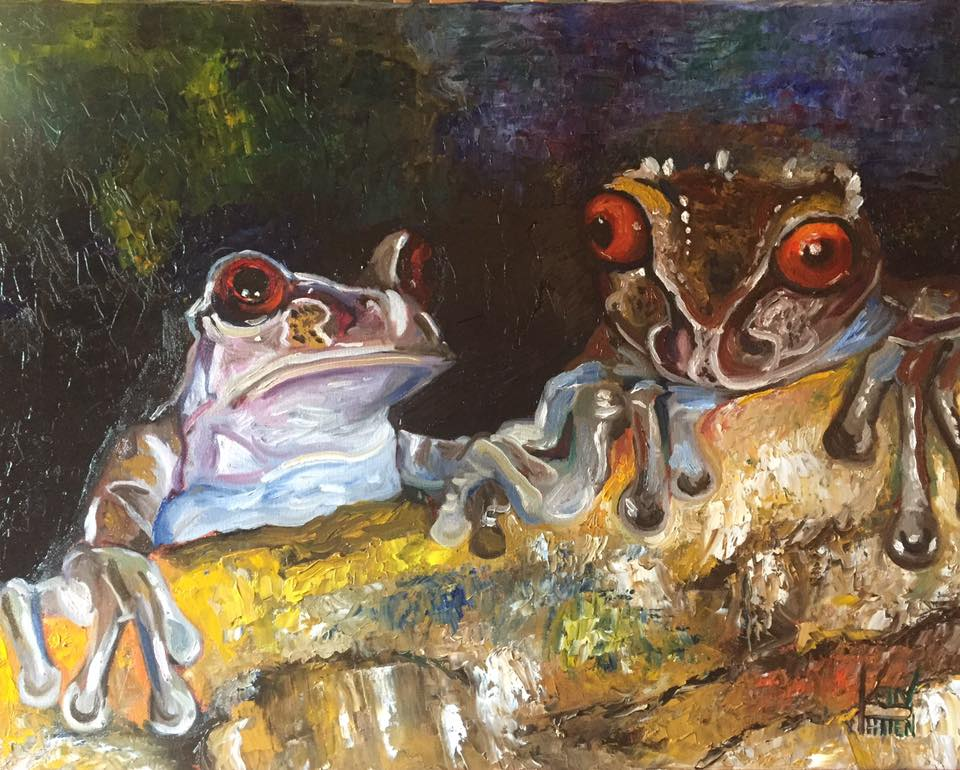 "Frogs, 16"" x 20"" oil on canvas (2017)"