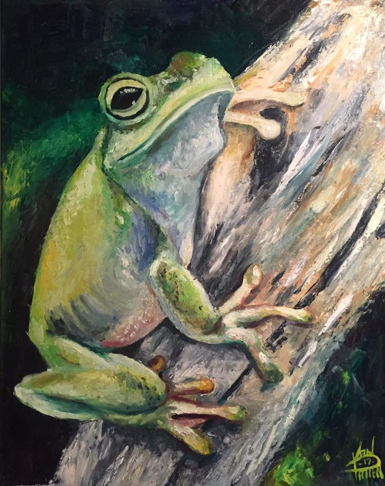 "Green Frog 2, 16"" x 20"" oil on canvas (2017)"
