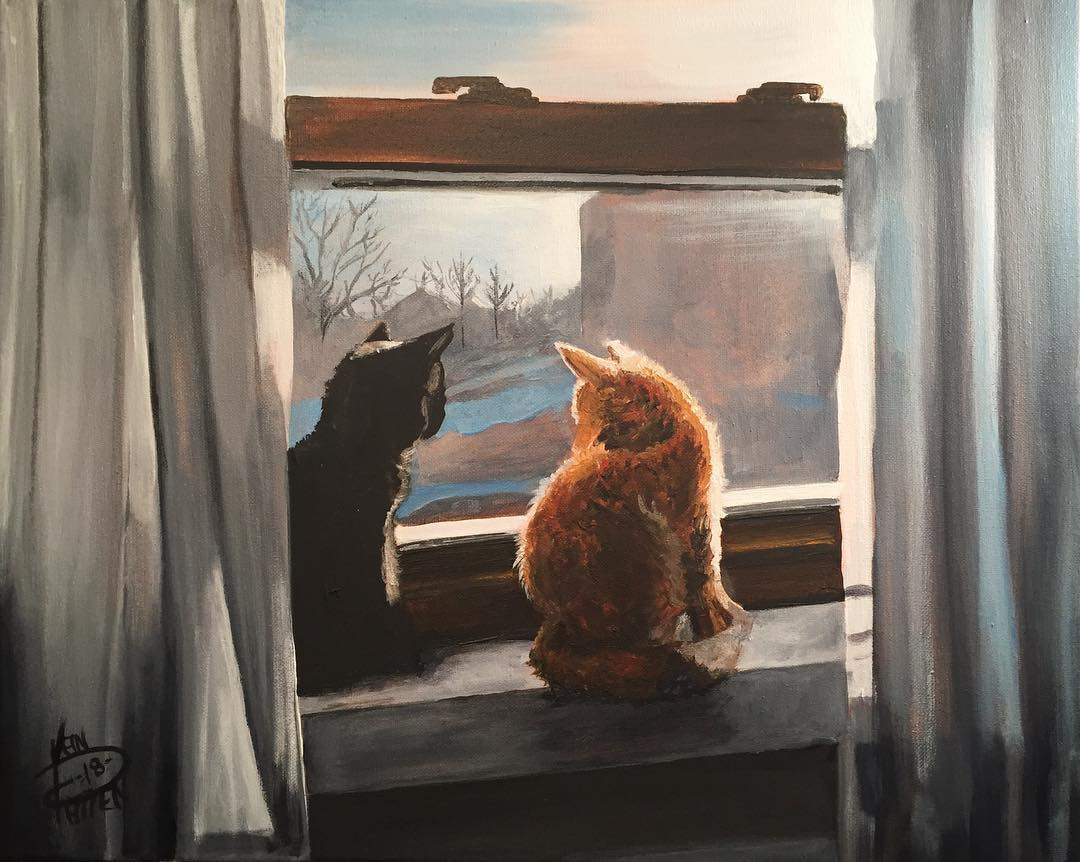 "Kitten Friends, 16"" x 20"" oil on canvas (2018)"