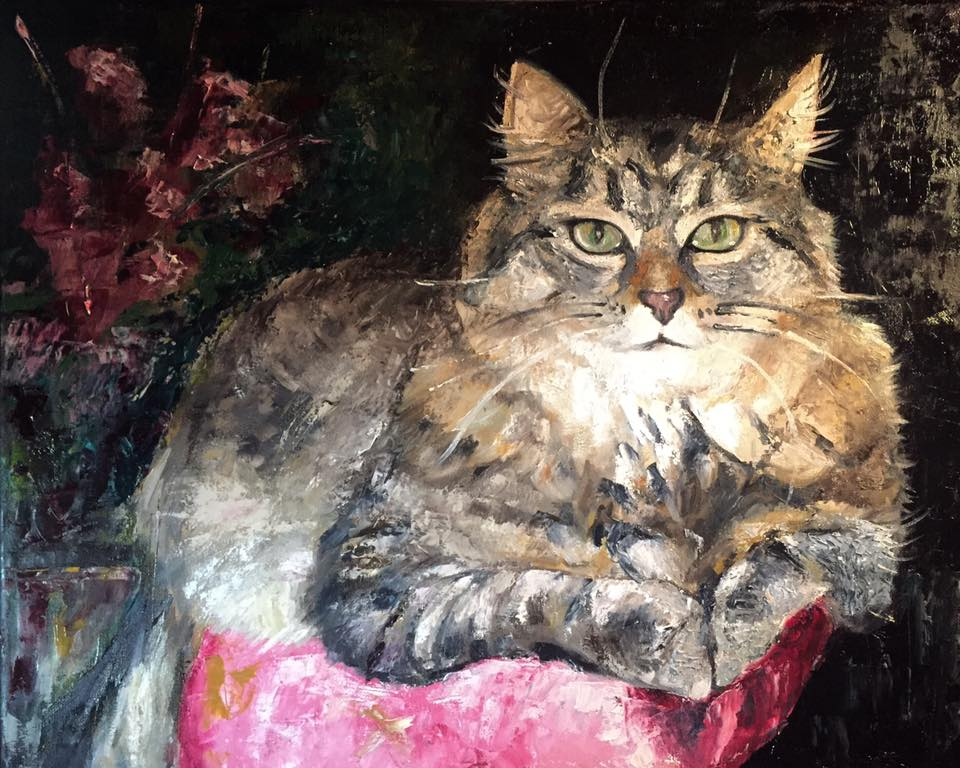 "Maine Coon, 16"" x 20"" oil on canvas (2017)"
