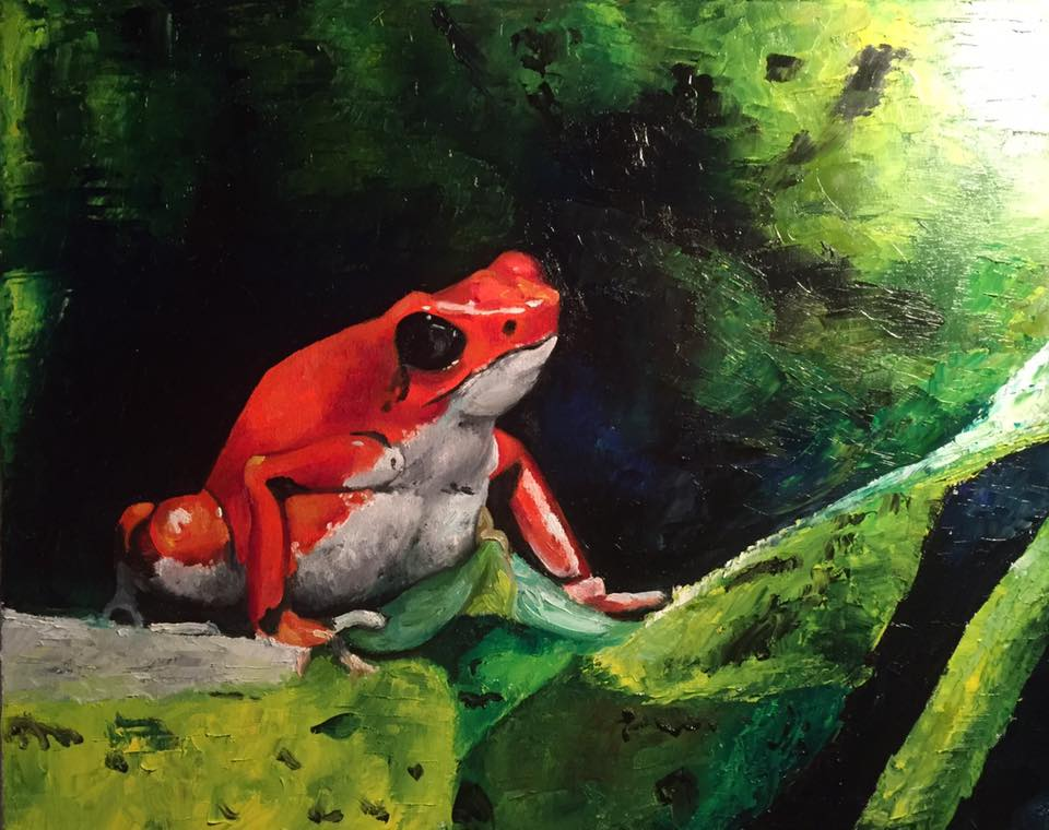 "Red Frog, 16"" x 20"" oil on canvas (2018)"