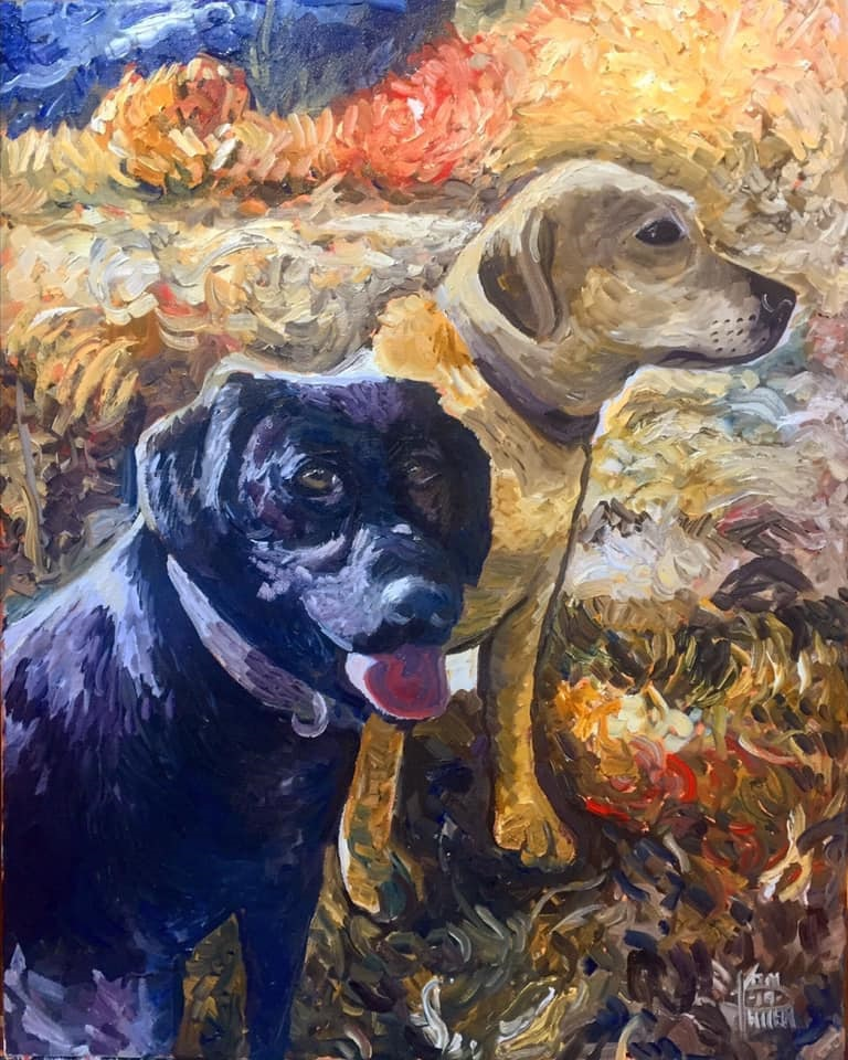 "Dogs, 16"" x 20"" oil on canvas (2019)"
