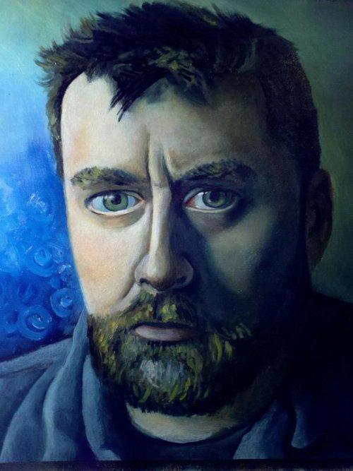 """Self 1, 12"""" x 12"""" oil on panel (2012)"""