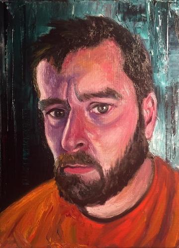 """Self 2, 16"""" x 20"""" oil on panel (2017)"""