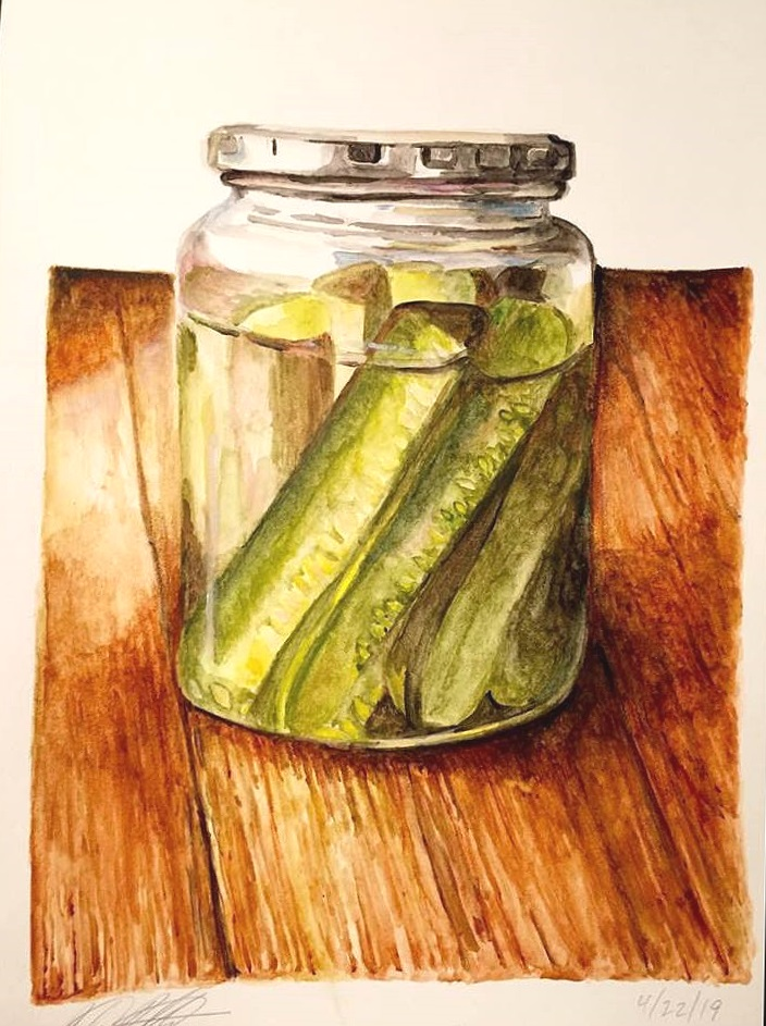 """Pickles, 12"""" x 18"""" watercolor on paper (2019)"""