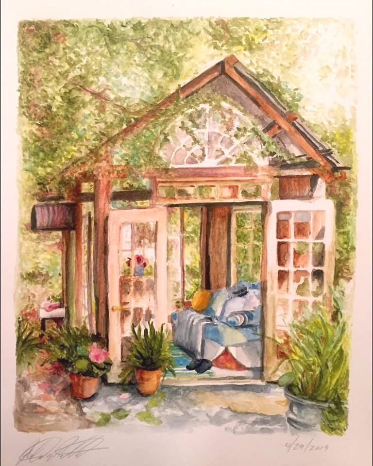 """Garden Shed, 12"""" x 18"""" watercolor on paper (2019)"""