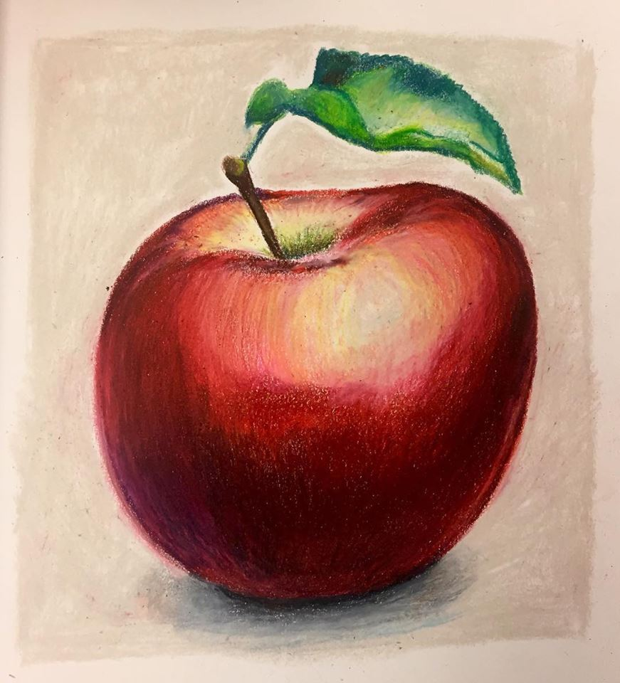 Apple, colored pencil on paper (2018)