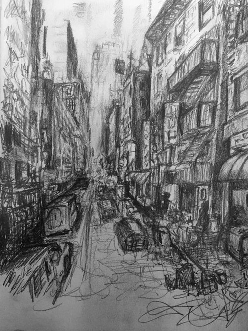 Fake City 3, graphite on paper (2018)