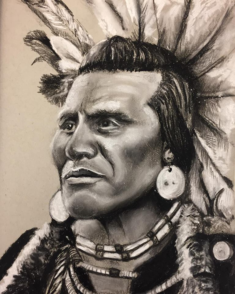 The Chief, charcoal on paper (2018)