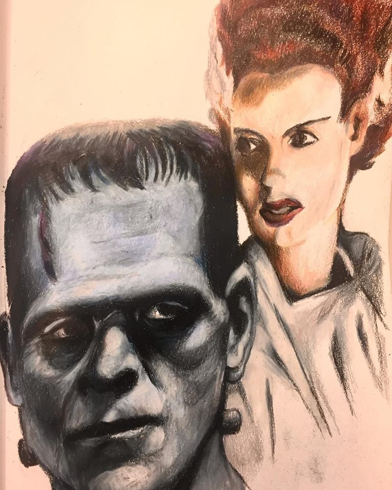 The Couple, colored pencils on paper (2018)
