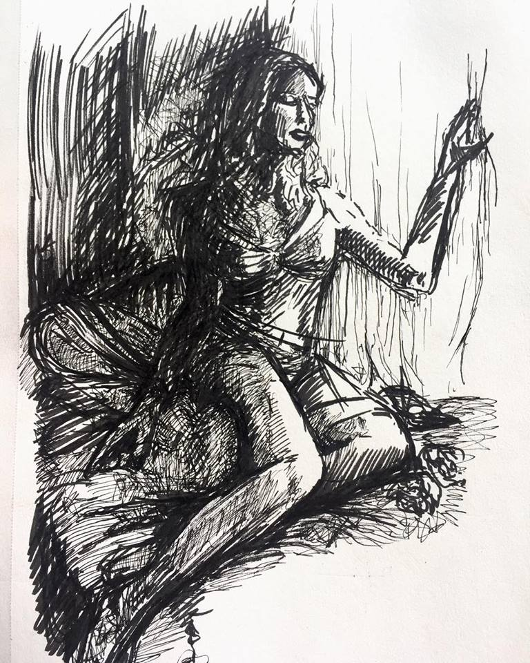 Waiting, ink on paper (2018)