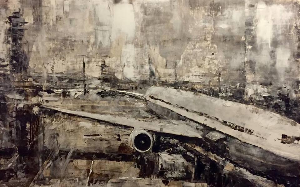 "Tarmac 2, 12"" x 24"" oil on panel (2017)"
