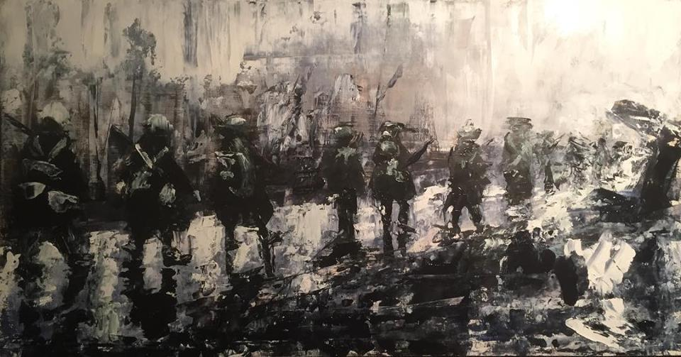 """The March, 12"""" x 24"""" oil on panel (2018)"""