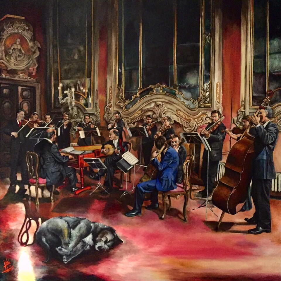"""The Orchestra, 48"""" x 48"""" Oil on Canvas (2012)"""