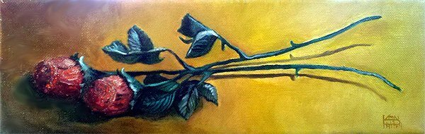 """""""Chocolate Roses"""" 3"""" x 12"""" Oil on Canvas (2012)"""