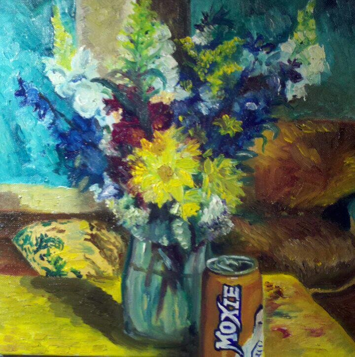 """""""Moxie in Bloom"""" 10"""" x 10"""" Oil on Canvas (2013)"""