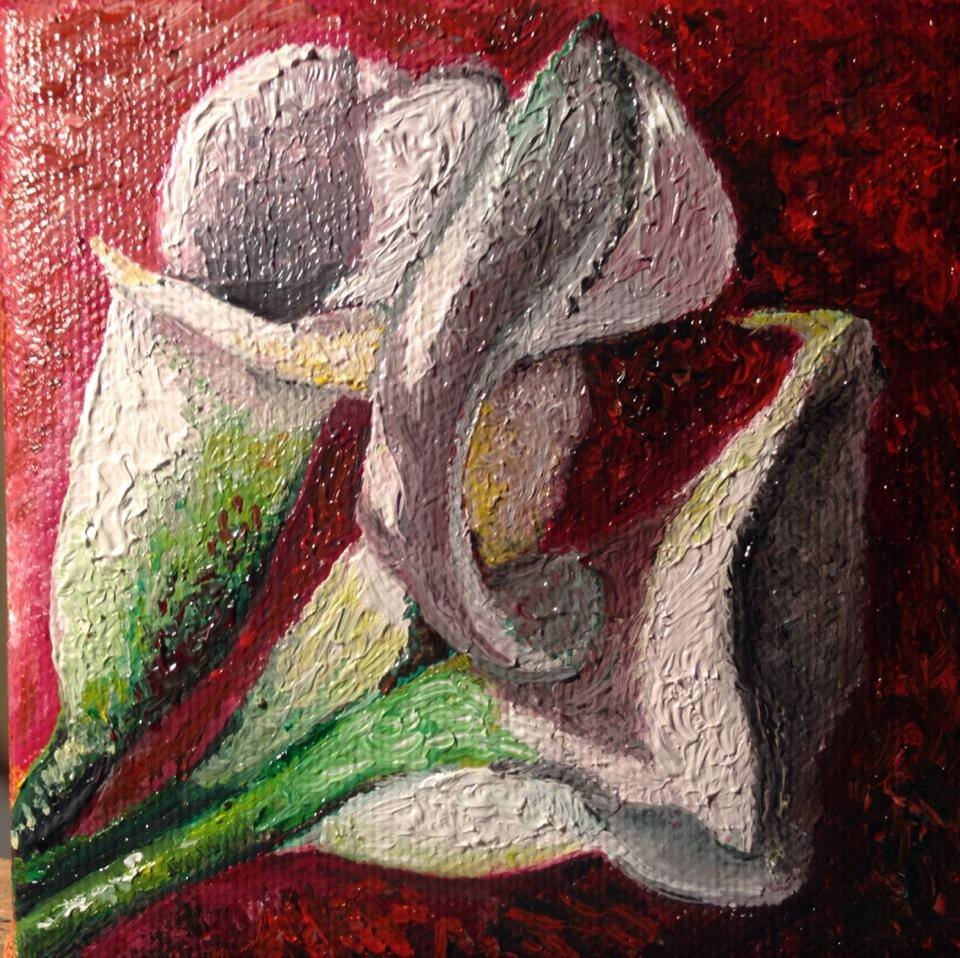 """""""Orchid"""" 4"""" x 4"""" Oil on Canvas (2013)"""