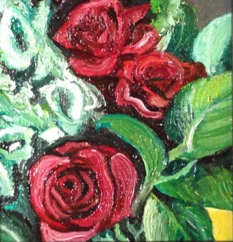 """""""Roses"""" 4"""" X 4"""" Oil on Canvas (2012)"""