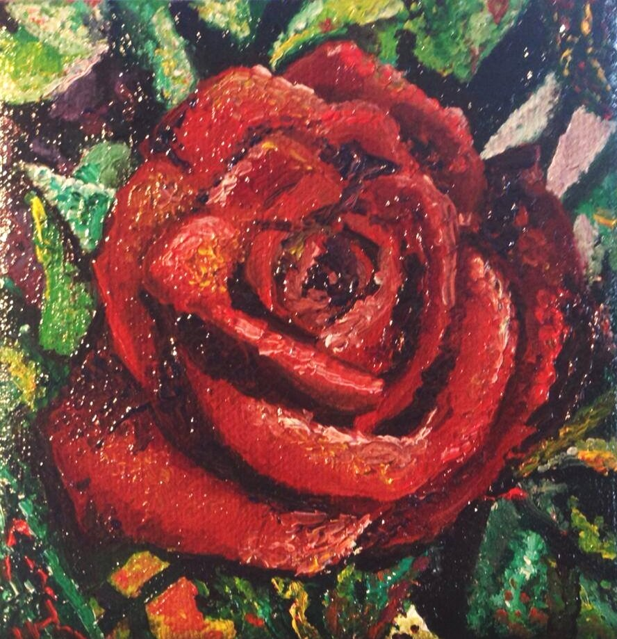 """""""Rose"""" 4"""" x 4"""" Oil on Canvas (2013)"""